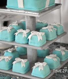 Mini cakes at a Tiffany's Bridal Shower Party!  See more party ideas at CatchMyParty.com!