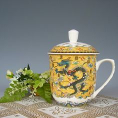 Teacup tea set bone China Jingdezhen Office Cup Kung Fu Tea Cup Teacup tea yellow Dragon Ceramicslife.com