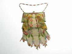 Antique WHITING & DAVIS Metal Mesh Floral Motif Handbag / Purse