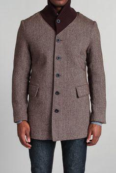 Knit Collar Herringbone Coat