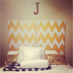 DIY headboard out of canvas.  Doing this!!!