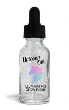 "Our ""Unicorn Oil"" Illuminating Glow Elixir is a glistening moisturizer, perfect for use on bare skin and adds an illuminating effect to your foundation.  Detail"