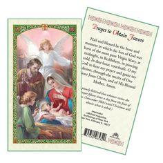 Nativity Prayer to Obtain Favors Laminated Prayer Card