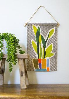 Snake Plant - Mini Wall Hanging – Home Dweller Fabric Wall Decor, Wall Decor Design, Mini Canvas, Snake Plant, Love Home, Wall Hangings, Twine, Cotton Canvas, Colours