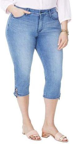 NYDJ Lace Up Hem Capri Jeans