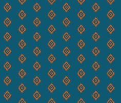 Ikat print in Orange and Teal fabric by theartwerks on Spoonflower - custom fabric