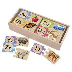 Melissa & Doug® Self-Correcting Alphabet Wooden Puzzles With Storage Box (52 pcs) : Target