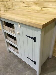Kitchen Freestanding Cupboard Solid Oak Top U0026 Vintage Trays Handmade Rustic  Unit