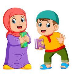Two kids holding holy qoran vector Cartoon Kids, Girl Cartoon, Cartoon Art, Islamic Art Pattern, Pattern Art, Muslim Pictures, Poster Design Layout, Cute Sketches, School Murals