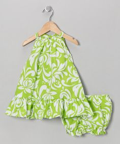 Take a look at this Green Hawaiian Tie-Back Dress & Bloomers - Infant & Toddler by RJC Girls on #zulily today!