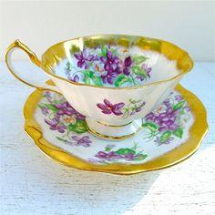 Vintage Princess Anne Violets Tea Cup and Saucer by twolittleowls