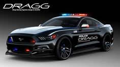 Many of the cars that will be showcased at the 2015 #SEMA Show in Las Vegas will always be looking in their mirrors for blue and red flashing lights. This DRAGG Ford Mustang, however, will be the one doing the flashing and possibly the chasing. Decked out in police livery with some dynamics staggered rims and a tuned 2.3-liter engine, this #Mustang will be on patrol. www.wheelhero.com #Discount Wheels