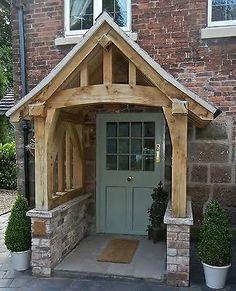 Oak Porch Doorway Wooden porch CANOPY Entrance Self build kit porch Front Door Overhang, Front Door Porch, Front Porch Design, Wooden Front Doors, Front Door Entrance, Exterior Front Doors, House Entrance, Front Porches, Diy Exterior
