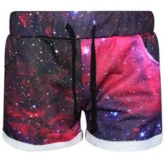 Red Pretty Womens Galaxy Printed Mini Shorts