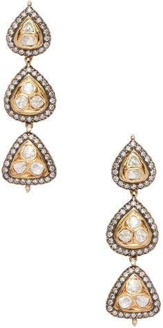 18-karat Gold, Sterling Silver, Diamond And Pearl Earrings - one size Amrapali