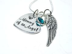 Mommy of an Angel hand stamped memorial necklace. Loss of children memorial.