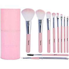 Pink Makeup Brushes,Kapmore 10 PCS Makeup Brush Set Professional Premium Synthetic Kabuki Travel Makeup Brushes Cosmetic Brush Set with Cylinder Makeup Brush Holder >>> For more information, visit image link. (This is an affiliate link and I receive a commission for the sales)