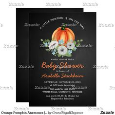 set of 10 lil pumpkin baby shower or autumn 1st birthday party fully custom invitations with orange envelopes