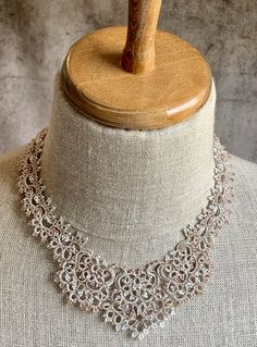 """""""Marilyn"""" Necklace – The French Needle Custom Jewelry, Jewelry Box, Fine Jewelry, Jewelry Making, Tatting Necklace, Tatting Jewelry, Needle Tatting, Tatting Lace, Doll Clothes Patterns"""