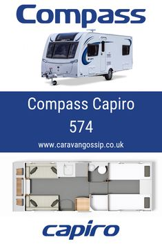 The Compass Capiro 574 is a four berth caravan on a single axle chassis. There are twin beds in the rear of the van with a mid-van bathroom. There is also a make up double bed at the front. Caravan Reviews, Twin Beds, Caravans, Double Beds, Motorhome, Compass, Gossip, Bathroom, Full Beds