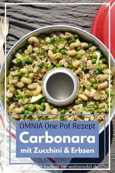 Schnelle Pasta Carbonara als vegetarisches Varianate für die Campingküche Zucchini, Pasta Carbonara, One Pot, Rice, Cooking, Food, New Recipes, Rv, Easy Meals