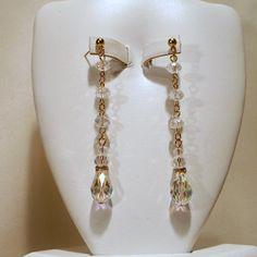 Swarovski AB Teardrop Earrings in Gold by tbyrddesigns on Etsy
