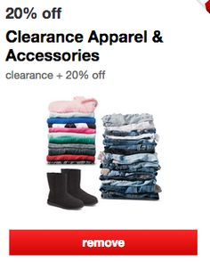 Load this new Target 20% off Cartwheel clearance coupon-->