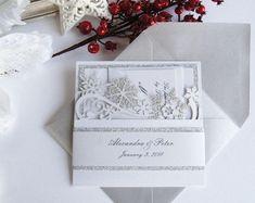 Winter Wedding Invitation Snowflake Invitation Elegant   Etsy Snowflake Invitations, Invitation Fonts, Laser Cut Invitation, Glitter Invitations, Laser Cut Wedding Invitations, Elegant Invitations, Wedding Stationery, Invite, Snowflake Wedding