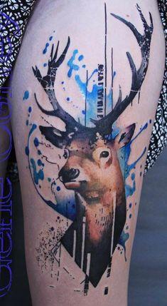 Watercolor deer tattoo - 45 Inspiring Deer Tattoo Designs