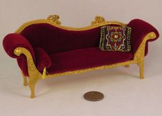 18th century rococo red velvet curved back by AuntElliesMiniatures