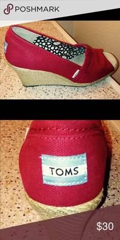 Red Canvas Toms Wedges Super cute and great for summer! ☀️ These are in great condition. Only used a few times. TOMS Shoes Heels