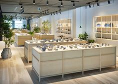 Swedish studio Claesson Koivisto Rune fitted out the Ceramika Japanese showroom selling European ceramics using pale wooden display furniture and plants. Display Furniture, Commercial Design, Showroom Design, Interior, Store Interior, Interior Spaces, Commercial Interiors, Shop Interior, Shop Interiors