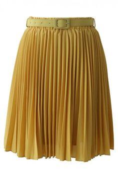 Mustard Pleated Chiffon Midi Skirt with Belt