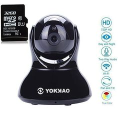 WiFi IP Camera Yokkao Home Security Baby Monitor Indoor CCTV IR 720P HD Night Vision Two Way Audio Motion Detection 32G TF CardKK02 Black *** Read more reviews of the product by visiting the link on the image.