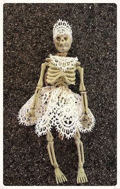 Shabby Chic Pretty Lace Skeleton Trick or Treater by JeanKnee
