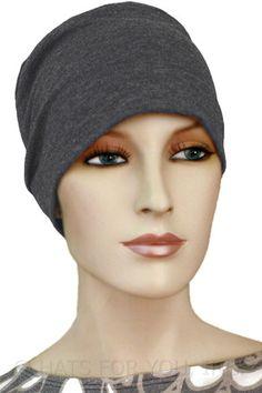 $17.75 - Charcoal Chemo Cap - @ hatsforyou.net #cancer #chemo #alopecia #hair loss