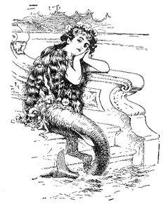 Art Beautiful Vintage Mermaid | ... Sea Coastal Lifestyle Blog: Coastal Crafts: Vintage Nautical Clip Art