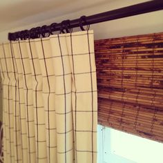 windowpane drapery and matchstick blinds