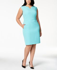 5e8ed91eb98 Kasper Plus Size V-Neck Sheath Dress - Wear to Work - Plus Sizes -