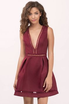 """Search """"Kayla Black Skater Dress"""" on Tobi.com! Romantic ladder trim satin like fabric, skater silhouette pleated full a line skirt, deep plunging neckline sleeveless sexy cute prom dress in burgundy wine red cute sweet timeless classy cheap affordable save money for women girls teens dresses wedding rehearsal bride bridal stylish fashionable elegant modest maxi midi mini long sexy gorgeous shop buy special occasion dance prom homecoming dinner party date"""