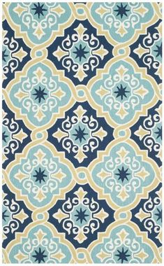 Shop the Rug - Color: Navy, Light Blue; Size: x by Safavieh. This Hand Hooked Navy, Light Blue rug has a pile_height, perfect for a soft yet durable addition to your home. Textile Pattern Design, Pattern Art, Wall Stencil Patterns, Print Patterns, Ethnic Patterns, Indoor Outdoor Area Rugs, Beautiful Rangoli Designs, Four Seasons, Background Patterns