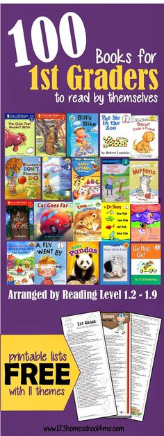 100 Books for 1st Graders to Read by themselves (with free printable bookmark!) #bookrecommendations #1stgrade