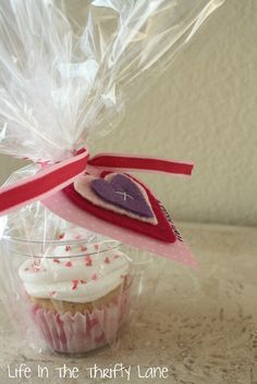 Cupcake Valentine - in a cup and wrapped Life In The Thrifty Lane: Valentine's Day