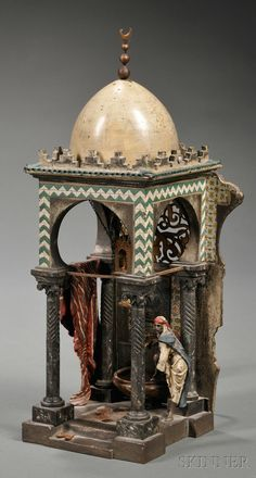 Bergman Cold Painted Bronze Boudoir Lamp, Austria, late 19th/early 20th century, polychrome decorated depiction of a mosque with an Arab washing his feet at a font, impressed Bergman mark, Austria and Geschutz.
