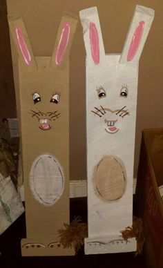 Easter bunnies made from old barn wood