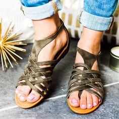 cb61b74349c Open Toe Casual Flat Heel Sandals Casual Shoes