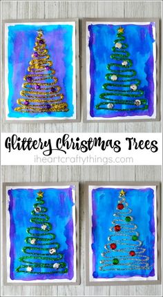 All of the different process and textures of this glittery Christmas tree craft makes this an awesome Christmas craft for kids.