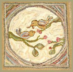 All Seasons Vintage Birds Hit-n-Miss Circle-antique hooked rug, hooked rug, rug hooking, vintage birds, Kathy Clark, briarwood folk art