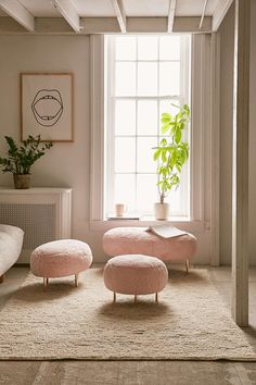 Minimal pink stools for a glamorous and romantic bedroom touch