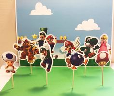 Mario Bross cupcake topper, party supplie decoration, theme cupcake, birthday cupcake toppers, mario bross inspired | Happy Party